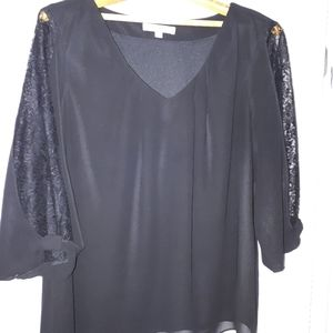2/$40 Cleo Chiffon Blouse Blk Balloon Lace Sleeve